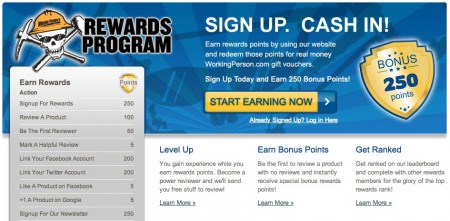 Rewards Program by WorkingPerson.com