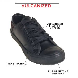 black shoe with vulcanized construction